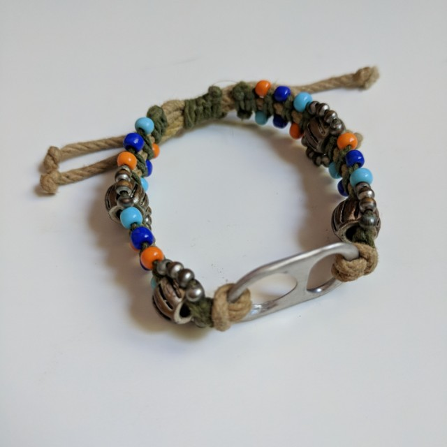 Beaded Jute Bracelet with Cool Upcycled Drink Can Tab