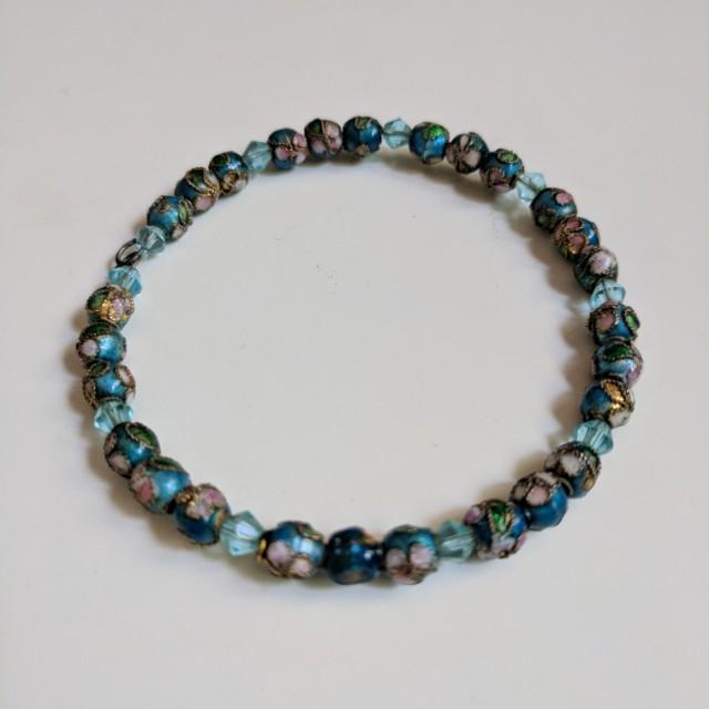 Beaded Wire Bracelet Blue Floral Design