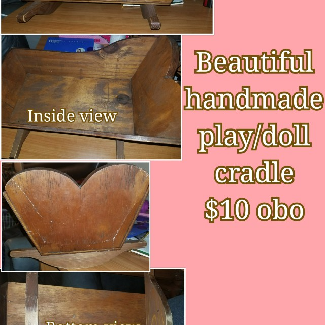 Beautiful handmade play doll cradle