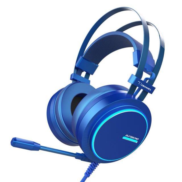 小公主♥B.Friend CH4 7.1聲道七色炫光環繞音效藍極光電競耳機