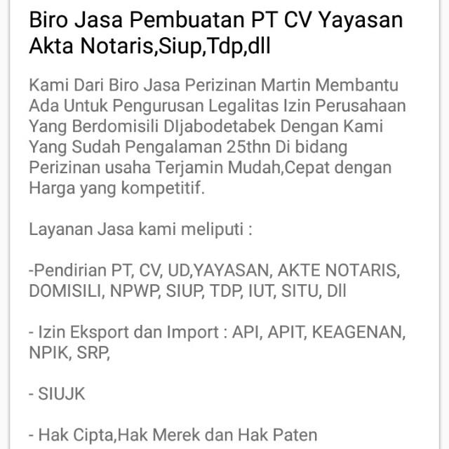 Biro Jasa Pembuatan PT & CV