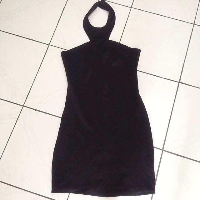 Black bodycon halter dress