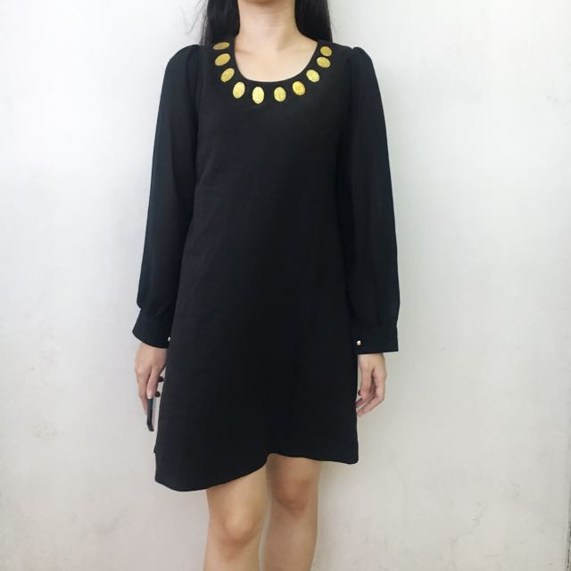 Black Gold Stone Dress