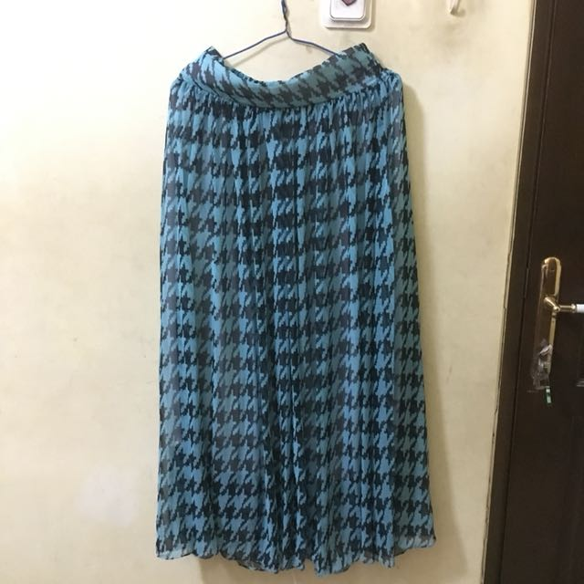 Blue Houndstood Maxi Skirt