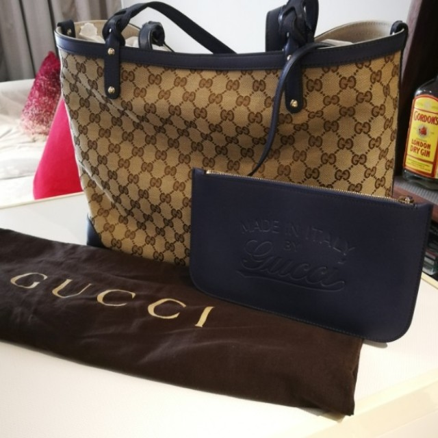 d380adc85 Brand New Authentic Gucci Tote Canvas Bag in Beige/Blue, Luxury ...
