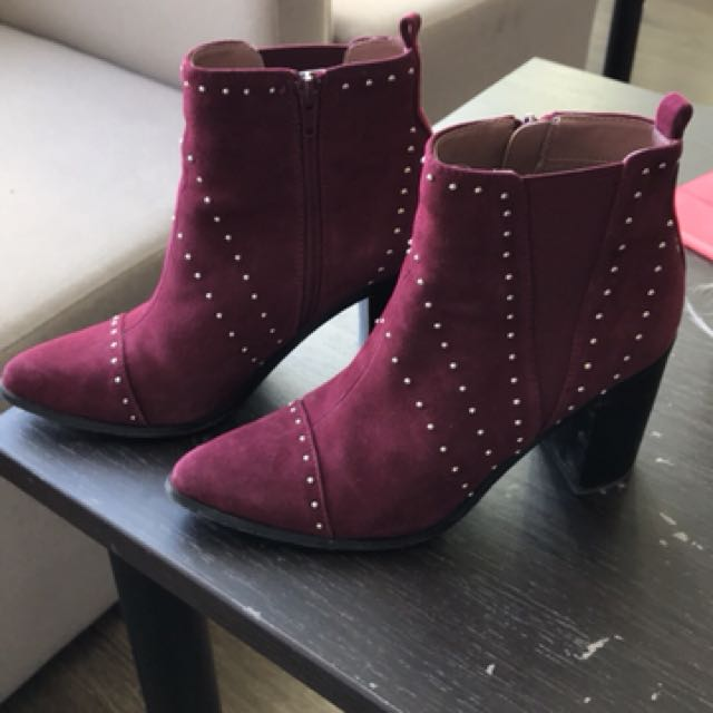 Burgundy Studded Kensie Boots size 7