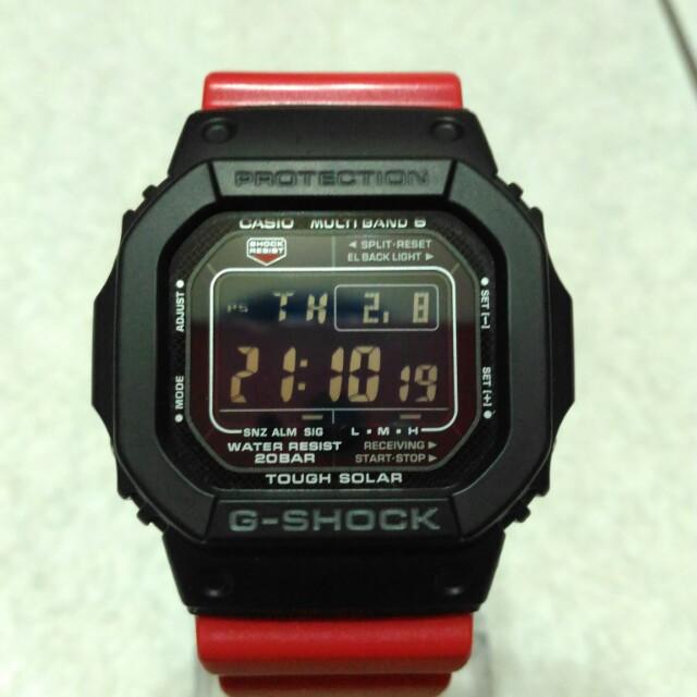 casio g-shock gw-m5610光動能 世界6局電波錶 反轉液晶 紅x黑