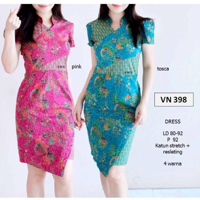 Dress batik pastel etnik modern