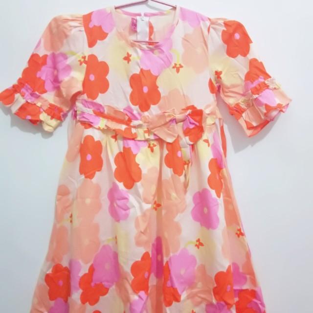 Dress Orange Flower (Baju Anak)
