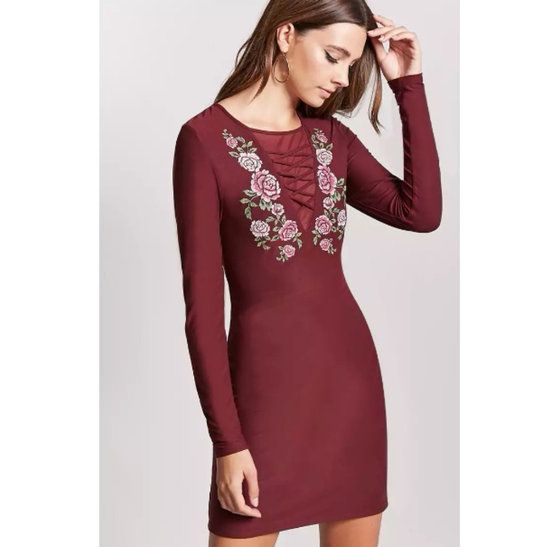 Forever 21 Lace-Up Mini Dress w/ Floral Embroidery - Wine