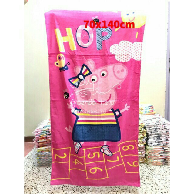 Free Delivery To Wm Only Ready Stock 2pc Rm75 Peppa Pig Design Shower Towel Each As Shown Design Color Free Delivery Is Applied For This Item