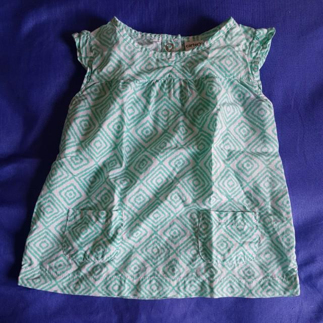 Green Printed Blouse Dress (9 mos)