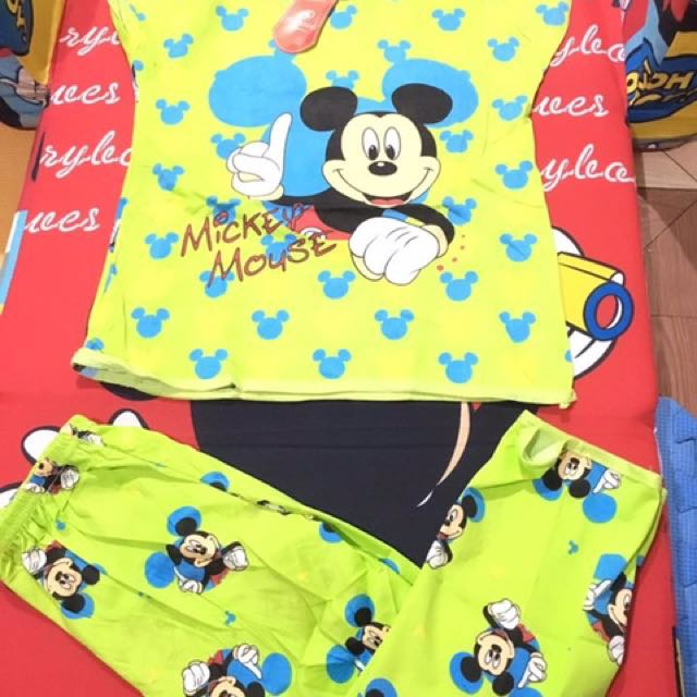 Green Mickey mouse terno for kids