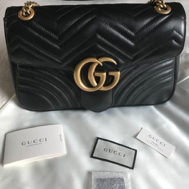 a7a44694b Gucci Marmont Matelassé Medium Leather Shoulder Bag, Women's Fashion on  Carousell