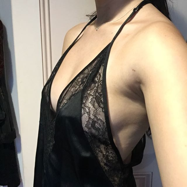 H&M Black lace satin cami top