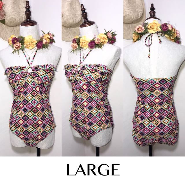 Imported Printed One Piece Halter Swimsuit FO20