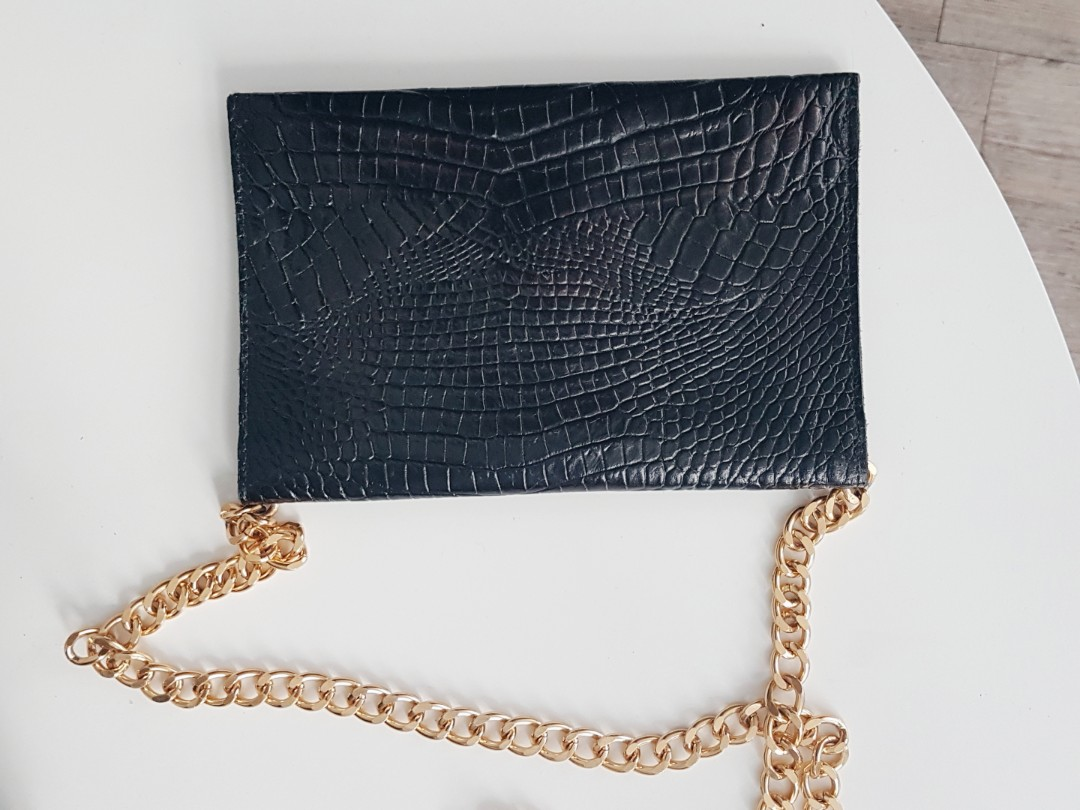 JJ winters genuine leather gold chain clutch bag