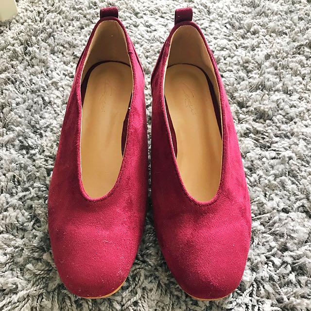 Kasui Burgundy Suede Block Shoes