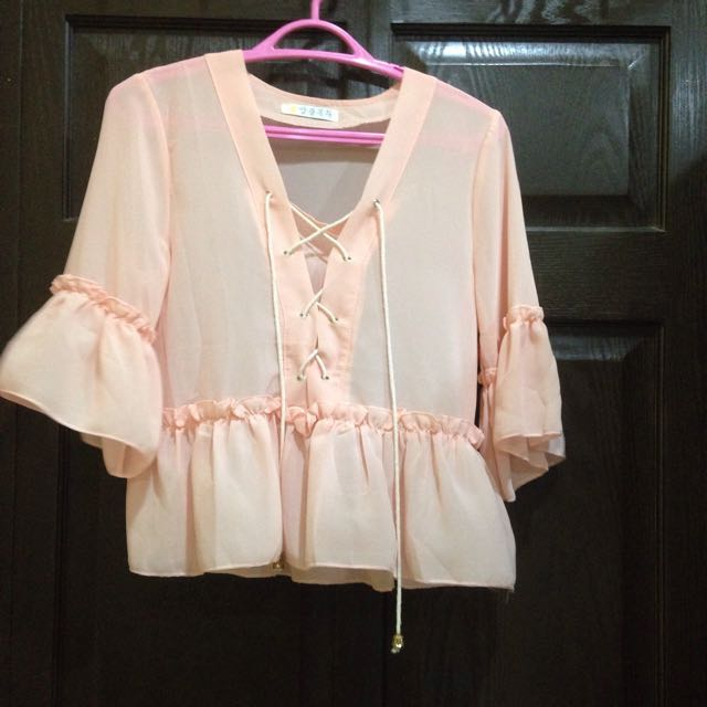Light Pink Lace Up Top Blouse