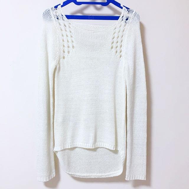 Long broken white sweater