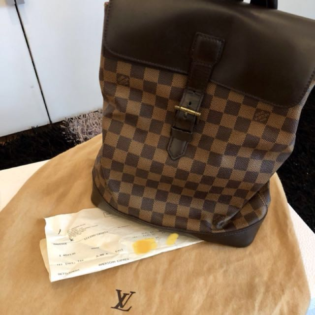 0b42e07ab02f Louis Vuitton Authentic LOUIS VUITTON Soho Backpack Damier Ebene ...