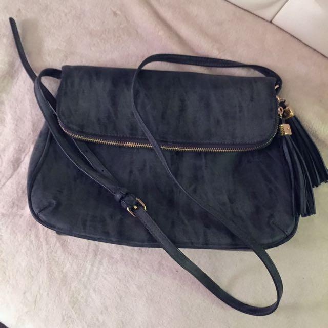 Marbled Grey Shoulder Flap Bag