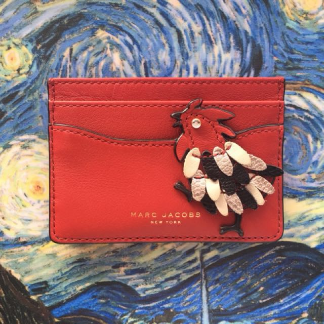 Marc Jacobs Lucky Rooster Card Holder - Scarlet Red