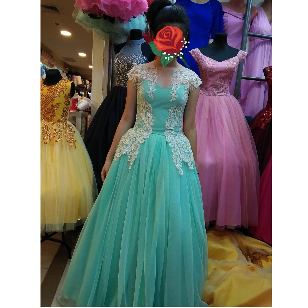 mint green ball gown , Preloved Women\'s Fashion, Clothes on Carousell