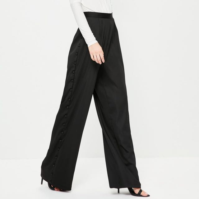 Missguided black satin button wide leg pants