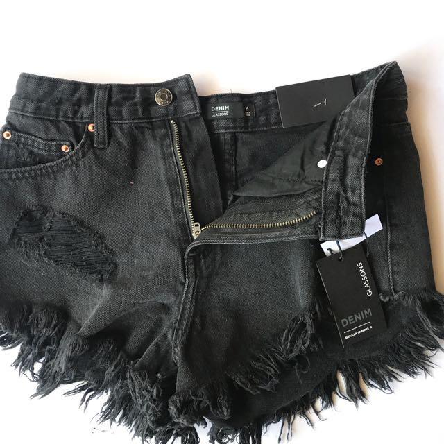 New GLASSONS Denim Highy waisted Shorts, size xs 6-8 washed Black New size 6. RRP $30