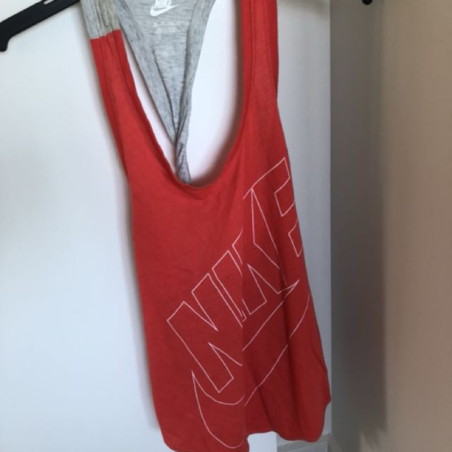 NIKE red and grey twist back singlet