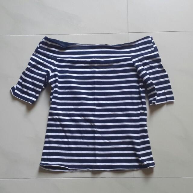 Off-shoulder stripey top