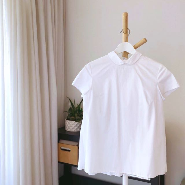 OLIVIALSR White Pleated Poplin Paneled Shirt