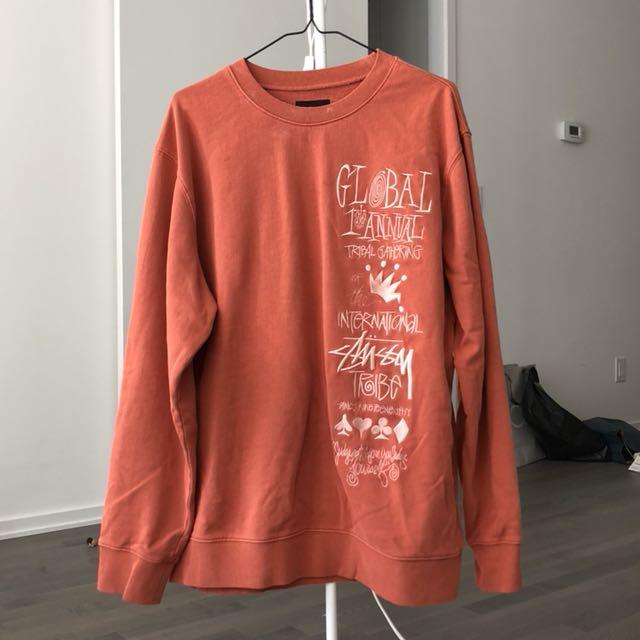Orange oversize Stussy Crewneck sweatshirt