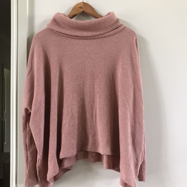 Pink Batwing Turtle Neck Jumper