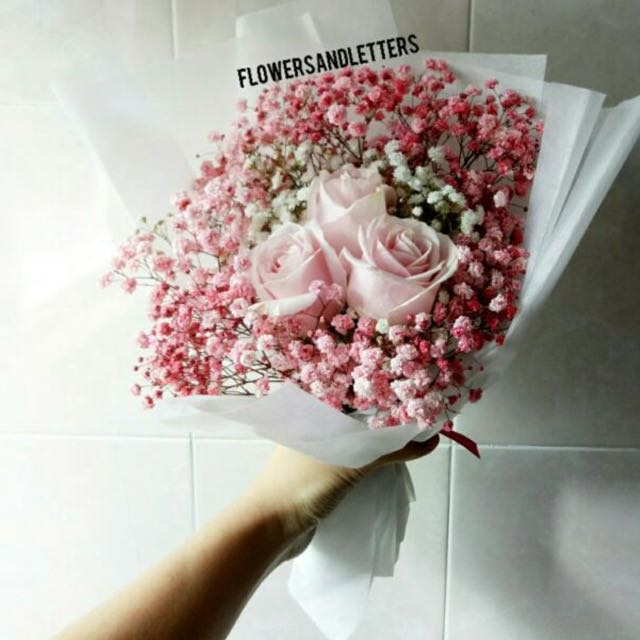 Pink roses wraps with white and pink babys breath flower bouquet pink roses wraps with white and pink babys breath flower bouquet gardening on carousell mightylinksfo