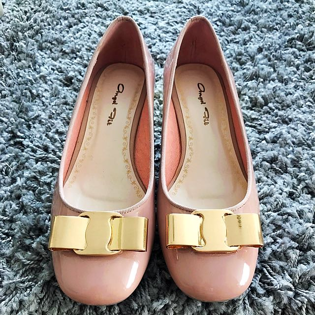 Pink-Beige Patent Gold Ribbon Shoes