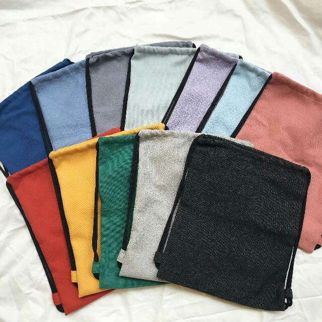 Plain Colored String Bags
