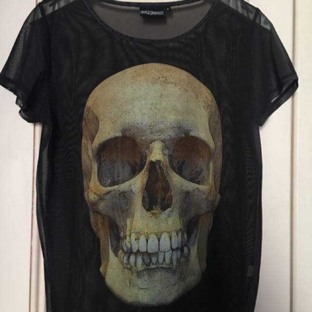 Pulp Kitchen Mesh Skull T Shirt