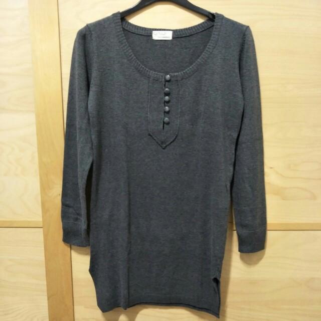 ♦Queen Shop 灰長版針織上衣