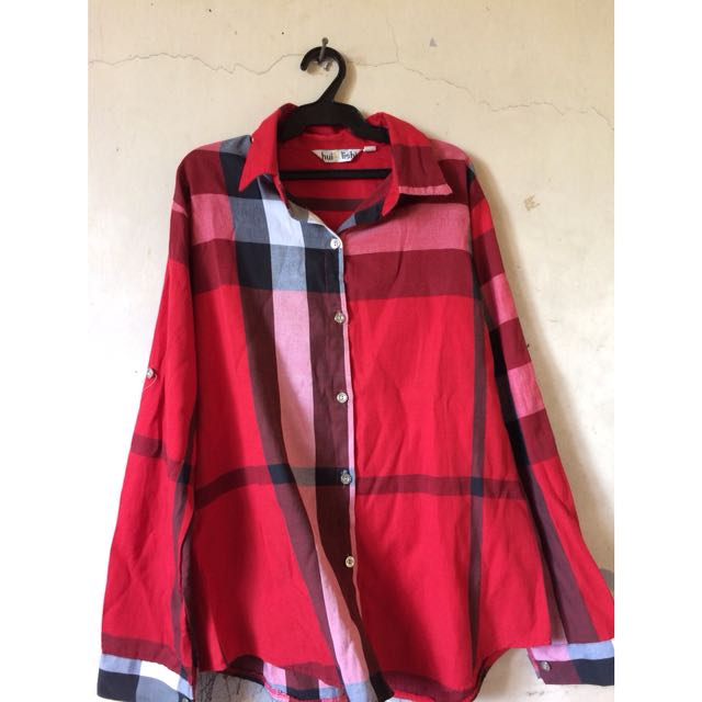 Red Checkered Polo/ Long sleeve
