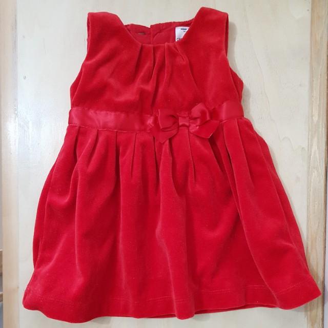 Red Velvet Sleeveless Dress (6 mos)
