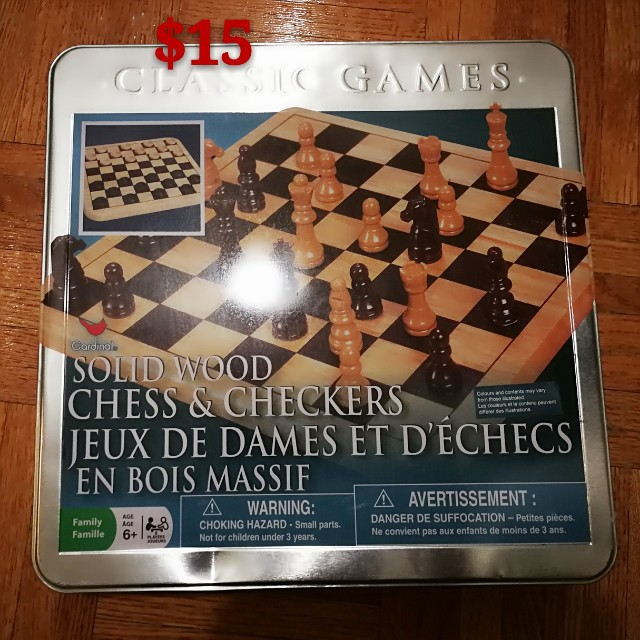 Solidwood chess and checkers