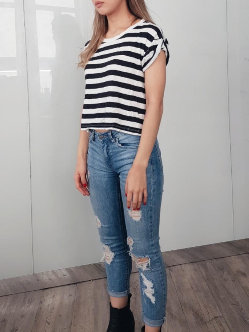 Sportsgirl crop stripe black white t-shirt xs 6 8