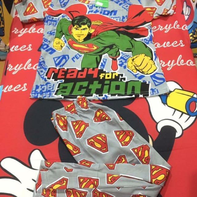 Superman gray terno sleepwear for kids