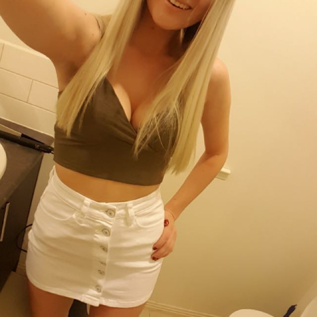 Supre white high waisted skirt