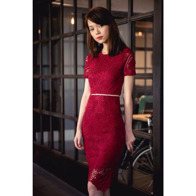 The Thread Theory Red Floral Lace Midi Pencil Skirt