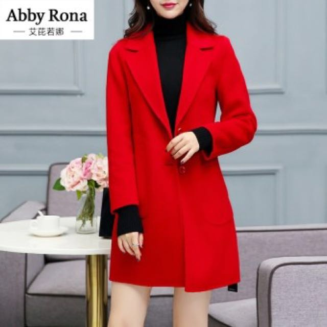 Thick Winter Wool Coat in Red (korean style)