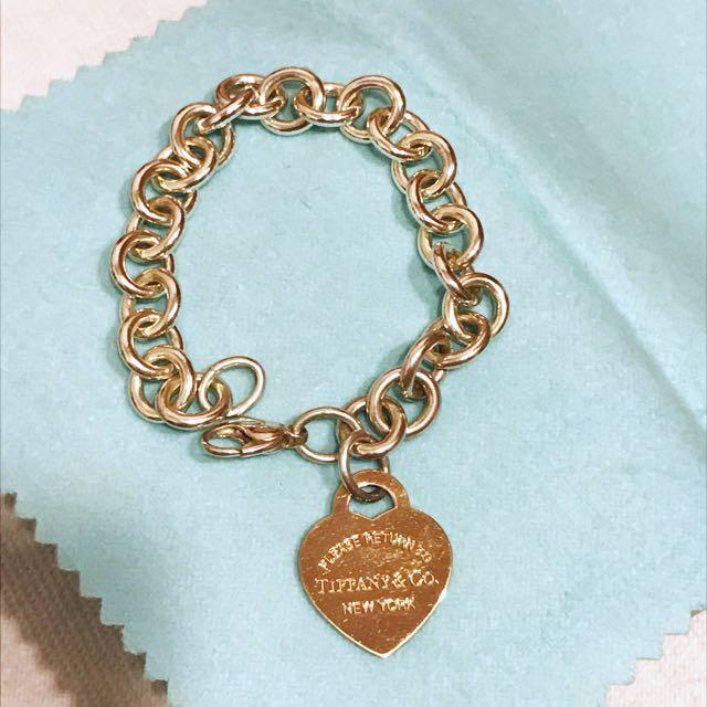 Tiffany手鍊 - 心形吊飾手鏈 玫瑰金
