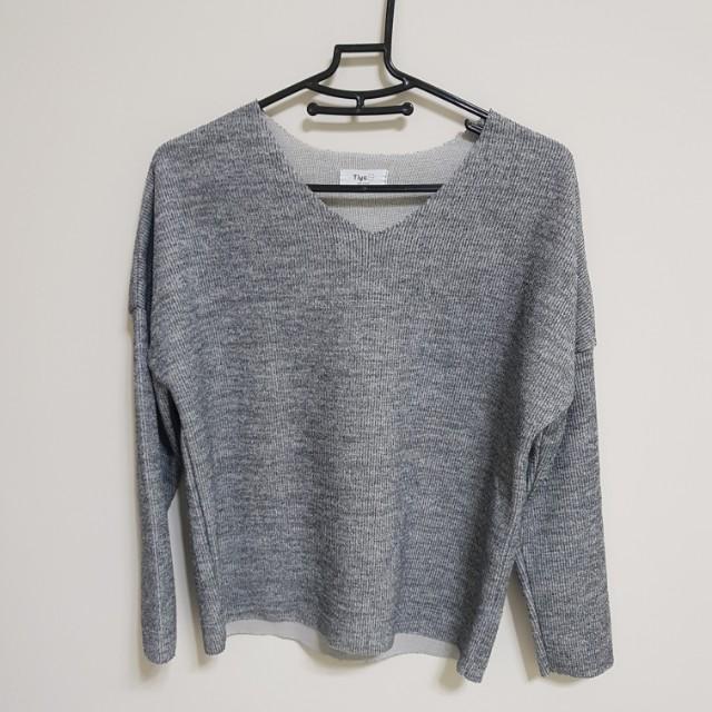 [百元]V領灰色毛衣